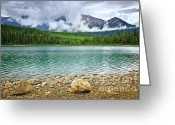 Vista Greeting Cards - Mountain lake in Jasper National Park Greeting Card by Elena Elisseeva