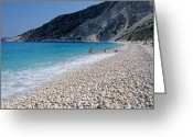 Suntan Greeting Cards - Myrtos beach Greeting Card by George Atsametakis