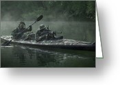 Firearms Photo Greeting Cards - Navy Seals Navigate The Waters Greeting Card by Tom Weber