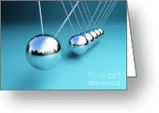 Swaying Greeting Cards - Newton Cradle 3d Greeting Card by Gualtiero Boffi