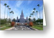 Impressionist Digital Art Greeting Cards - Oakland Temple No. 1 Greeting Card by Geoffrey C Lewis