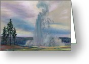 Western Pastels Greeting Cards - Old Faithful Greeting Card by Donald Maier