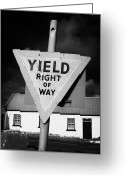 Old Country Roads Greeting Cards - Old Irish Red Triangle Yield Right Of Way Sign In Rural Ireland Greeting Card by Joe Fox