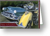 Motorcycle Art Greeting Cards - Old Schoolin Greeting Card by Lucretia Torva