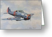 Fighters Painting Greeting Cards - On Silver Wings Greeting Card by Murray McLeod