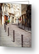 Architecture Tapestries Textiles Greeting Cards - Paris street Greeting Card by Elena Elisseeva