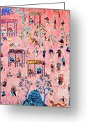 Asia Greeting Cards - Pattern of art in Asia Greeting Card by Setsiri Silapasuwanchai