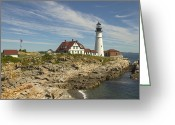 East Coast Digital Art Greeting Cards - Portland Head Lighthouse Greeting Card by Mike McGlothlen