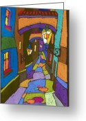 Night Greeting Cards - Prague Old Street Greeting Card by Yuriy  Shevchuk