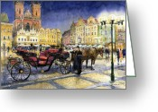 Europe Painting Greeting Cards - Prague Old Town Square Greeting Card by Yuriy  Shevchuk