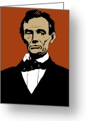 Abraham Mixed Media Greeting Cards - President Lincoln Greeting Card by War Is Hell Store