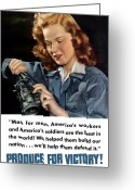 Factory Greeting Cards - Produce For Victory Greeting Card by War Is Hell Store