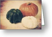 Decorativ Mixed Media Greeting Cards - 3 Pumpkins Greeting Card by Angela Doelling AD DESIGN Photo and PhotoArt