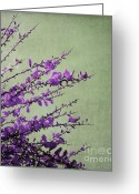Texture Floral Greeting Cards - Purple Greeting Card by Kristin Kreet
