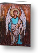 Archangel Greeting Cards - Raphael Archangel Greeting Card by Pristine Cartera Turkus