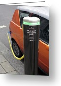Mega Greeting Cards - Recharging An Electric Car Greeting Card by Martin Bond