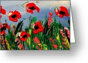 Flower Photography Painting Greeting Cards - Red Poppies Greeting Card by Mark Kazav