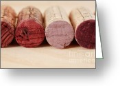 Vine Photo Greeting Cards - Red Wine Corks Greeting Card by Frank Tschakert