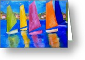 Tropical Beach Painting Greeting Cards - Reflections of Tortola Greeting Card by Patti Schermerhorn
