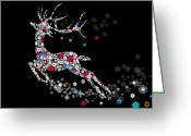 Snowflake Greeting Cards - Reindeer design by snowflakes Greeting Card by Setsiri Silapasuwanchai