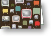 Program Greeting Cards - retro TV pattern  Greeting Card by Setsiri Silapasuwanchai