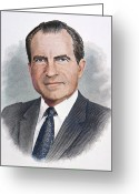 Nixon Greeting Cards - Richard Nixon (1913-1994) Greeting Card by Granger