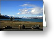 Lake Tekapo Greeting Cards - 3 Rocks and a Vista Greeting Card by Jan Lawnikanis