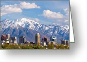 Snow Capped Photo Greeting Cards - Salt Lake City Utah USA Greeting Card by Utah Images