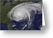 Carolina Greeting Cards - Satellite View Of Hurricane Irene Greeting Card by Stocktrek Images