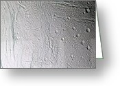 Horizontal Lines Greeting Cards - Saturns Moon Enceladus Greeting Card by Stocktrek Images