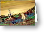 Leaned Greeting Cards Greeting Cards - Seascape Greeting Card by Mark Kazav