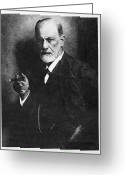 Freud Greeting Cards - Sigmund Freud, Austrian Psychologist Greeting Card by Humanities & Social Sciences Librarynew York Public Library