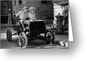 Glove Greeting Cards - Silent Film: Automobiles Greeting Card by Granger