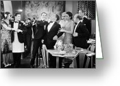 Tuxedo Greeting Cards - Silent Film: Restaurant Greeting Card by Granger