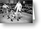 Referee Greeting Cards - Silent Film Still: Boxing Greeting Card by Granger