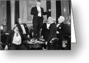 Tuxedo Greeting Cards - Silent Film Still: Gambling Greeting Card by Granger