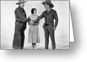 Handshake Greeting Cards - Silent Film Still: Western Greeting Card by Granger