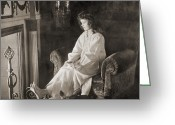 Nightgown Greeting Cards - Silent Film Still: Woman Greeting Card by Granger