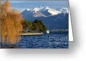 Snow Capped Greeting Cards - Snow-capped mountain Greeting Card by Mats Silvan