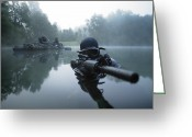 Gun Barrel Greeting Cards - Special Operations Forces Combat Diver Greeting Card by Tom Weber