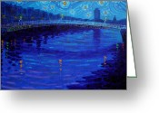 Ireland Greeting Cards - Starry Night In Dublin Greeting Card by John  Nolan