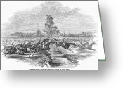 Horserace Greeting Cards - Steeplechase, 1846 Greeting Card by Granger