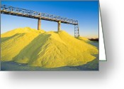 Mound Greeting Cards - Stockpiled Sulphur, Vancouver, Canada Greeting Card by David Nunuk