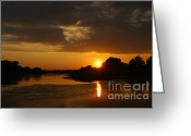 Nature Landscape Pyrography Greeting Cards - Sunset on the River Greeting Card by Torsten Dietrich