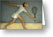 Japan Painting Greeting Cards - Tennis Greeting Card by Nicolay  Reznichenko