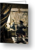 Vermeer Greeting Cards - The Artists Studio Greeting Card by Jan Vermeer