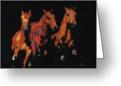 Running Horse Greeting Cards - The Competitive Edge Greeting Card by Frances Marino
