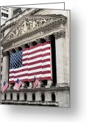 National Flag Greeting Cards - The Facade Of The New York Stock Greeting Card by Justin Guariglia
