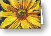 Gold Lame Painting Greeting Cards - The flower Greeting Card by Odon Czintos