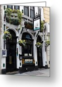 Hanging Baskets Greeting Cards - The Ship Pub London  Greeting Card by David Pyatt